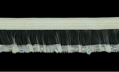 ELASTIC FRILL WITH BUGLE BEAD